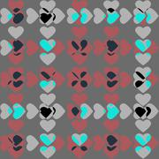 Valentine's seamless pattern with hearts - stock illustration