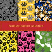 Stock Illustration of Seamless animal patterns of paw footprint - vector set