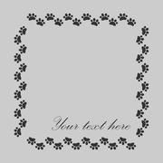 Stock Illustration of Cat paw prints  frame for your text background, vector