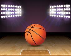 Basketball Court Ball Lights and Hoop Illustration Piirros