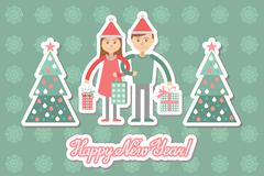 Family couple with Christmas shopping. Greeting card. - stock illustration