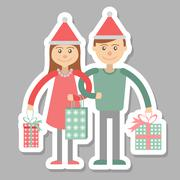 Family couple with Christmas shopping. - stock illustration
