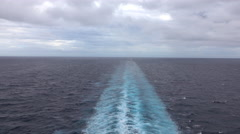 Caribbean Ocean beautiful wake behind cruise ship 4K - stock footage