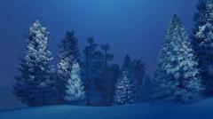Snow-covered spruce forest at winter night - stock illustration