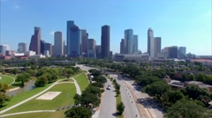 Aerial View of Downtown Houston Skyline Stock Footage