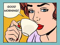 Good morning girl with Cup of coffee Stock Illustration