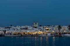 Naoussa view at night, a famous touristic destination in Greek island Paros. - stock photo