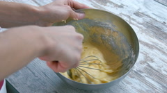 Preparation of cake. Corolla mixing dough. Close-up. Stock Footage