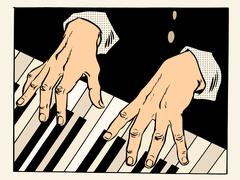 piano keys pianist hands - stock illustration