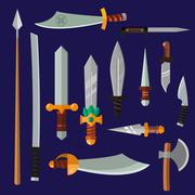 Knifes weapon collection - stock illustration