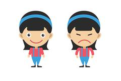 Cartoon girls sisters emotions - stock illustration
