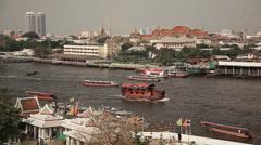 Chao Praya Boats Bangkok Time Lapse Stock Footage