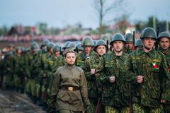 Parade of unidentified re-enactors dressed as Soviet soldiers du - stock photo