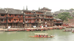 China Boats Fenghuang River Stock Footage