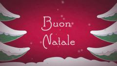 Christmas card animation with snow and pines Stock Footage