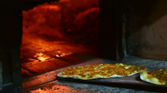 Wood Fire in the Oven and Turkish Lahmacun Stock Footage
