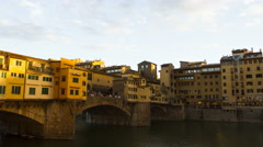 Sunset on the Ponte Vecchio - stock footage