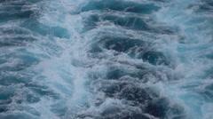 Caribbean Ocean wake from cruise ship close 4K Stock Footage