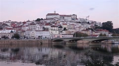 View of portuguese city Coimbra from river Stock Footage