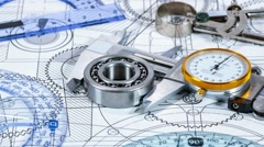 Technical drawing and tools - stock footage