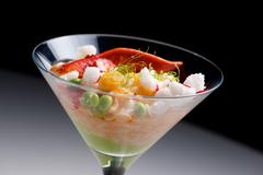 Rice with lobster served in a crystal goblet. Stock Photos