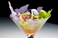 Prawn cocktail served in a crystal goblet. - stock photo