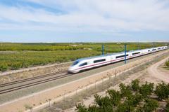 View of a high-speed train crossing a field in Ricla, Zaragoza, Aragon, Spain Kuvituskuvat