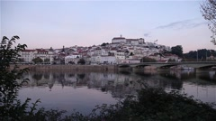 View of portuguese city Coimbra from river, slider shot Stock Footage