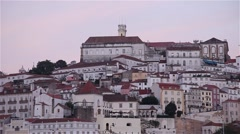 View of Coimbra University at sundown Stock Footage