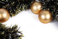 Gold balls christmas ornament Stock Photos