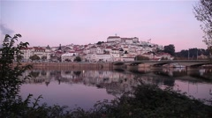 Timelapse of portuguese city Coimbra Land of students, view from river Stock Footage