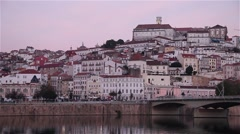 View from river of portuguese city Coimbra Stock Footage