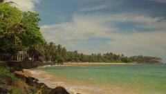 The beach on the tropical island of Ceylon. Sri Lanka - stock footage