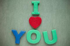 Stock Photo of I love you text