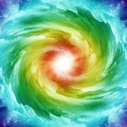 Colored spiral galaxy - stock illustration