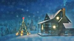 Decorated Christmas tree and cozy house at night Stock Illustration