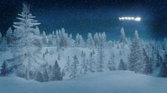 Snowy spruce forest at dreamlike winter night - stock illustration