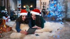 Girls congratulate friends with winter holidays Stock Footage