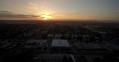 Aerial sunset view of city of Los Angeles and West Hollywood - California, USA Stock Footage