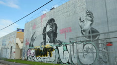 Miami Wynwood art on walls Stock Footage