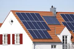 House with regenerative energy system - stock photo