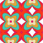 Bright pattern in style of the fifties red, orange and neon Stock Illustration
