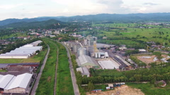 Aerial view of Industrial Estate northern with railway transport thailand Stock Footage
