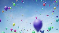 Flying backwards through lots of floating balloons Stock Footage