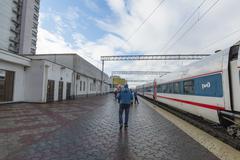 NIZHNY NOVGOROD, RUSSIA -05.11.2015. High-speed train Strizh at the railway s Stock Photos