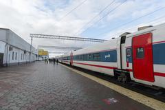 NIZHNY NOVGOROD, RUSSIA -05.11.2015. High-speed train Strizh at the railway s - stock photo
