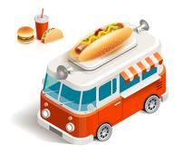 Van with fast food Stock Illustration