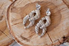 women's earrings with diamonds - stock photo