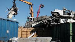 Moving Scrap Metal Stock Footage