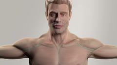 Human anatomy showing face and shoulders, with a reveal of different layers like - stock footage